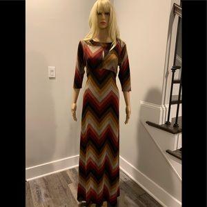 ASOS maxi knit chevron stripe multi color dress